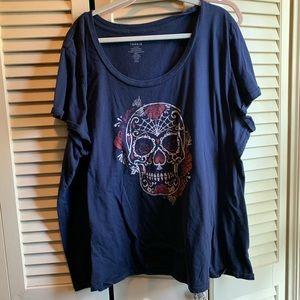 Torrid. Blue skull tee. Great for Halloween. 5x.